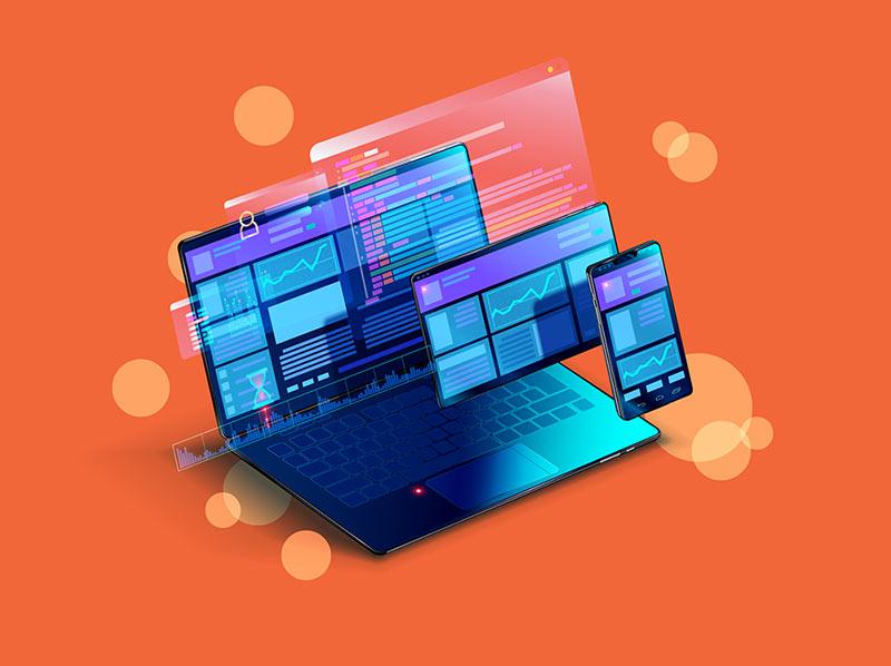 imagem de computador, celular e tablet em vetor destacados com cor azul, remetendo a tecnologia e a importância dela para um negócio. Fundo laranja.